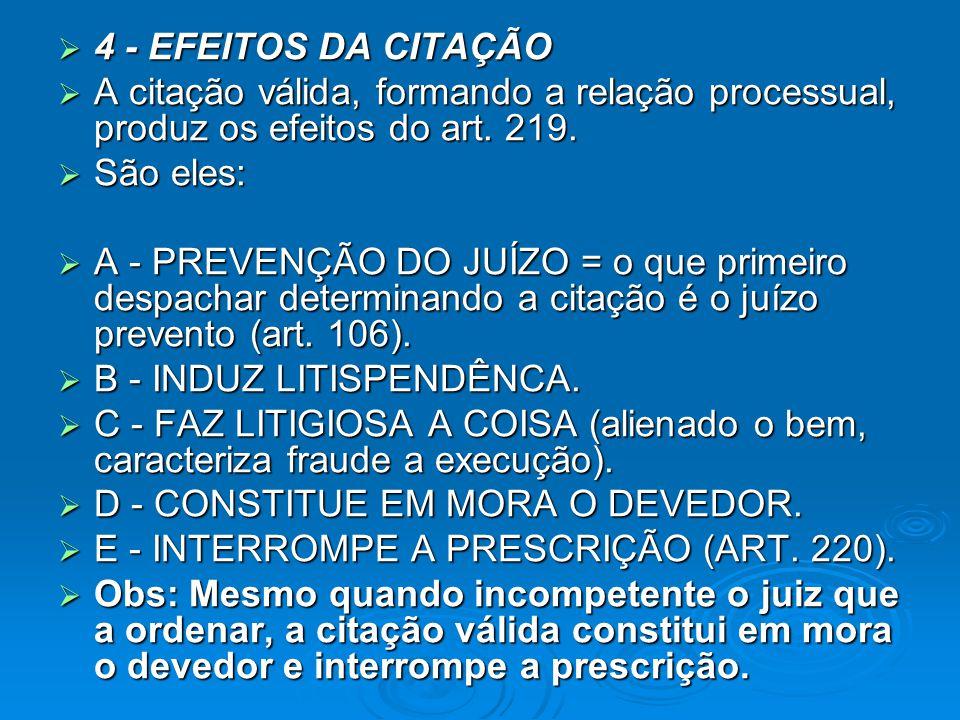 4 - EFEITOS DA CITAÇÃO A citação válida, formando a relação processual, produz os efeitos do art. 219.