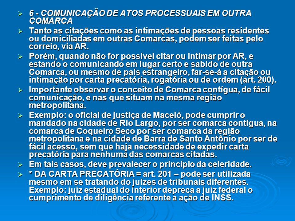 6 - COMUNICAÇÃO DE ATOS PROCESSUAIS EM OUTRA COMARCA
