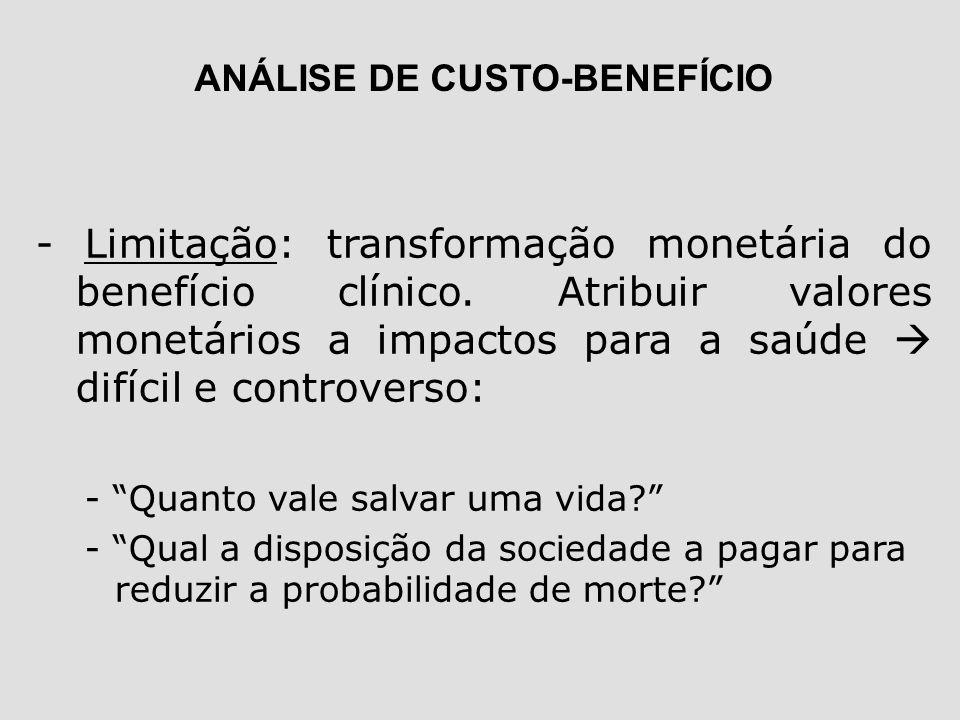 ANÁLISE DE CUSTO-BENEFÍCIO