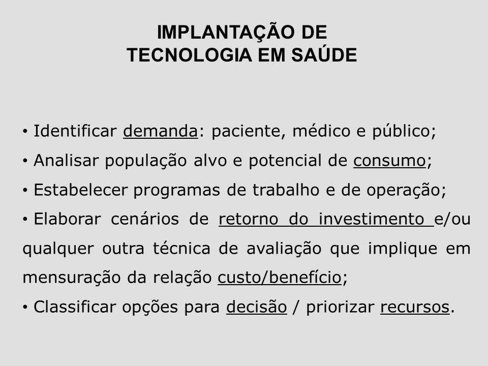 IMPLANTAÇÃO DE TECNOLOGIA EM SAÚDE