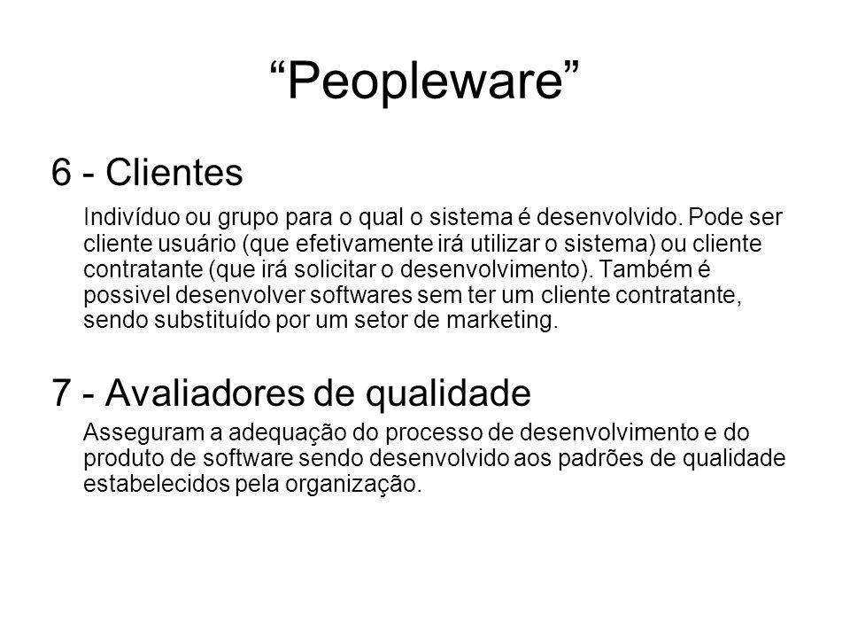 Peopleware 6 - Clientes 7 - Avaliadores de qualidade