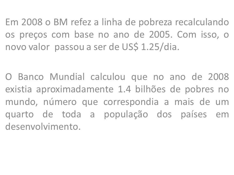 Em 2008 o BM refez a linha de pobreza recalculando os preços com base no ano de 2005. Com isso, o novo valor passou a ser de US$ 1.25/dia.
