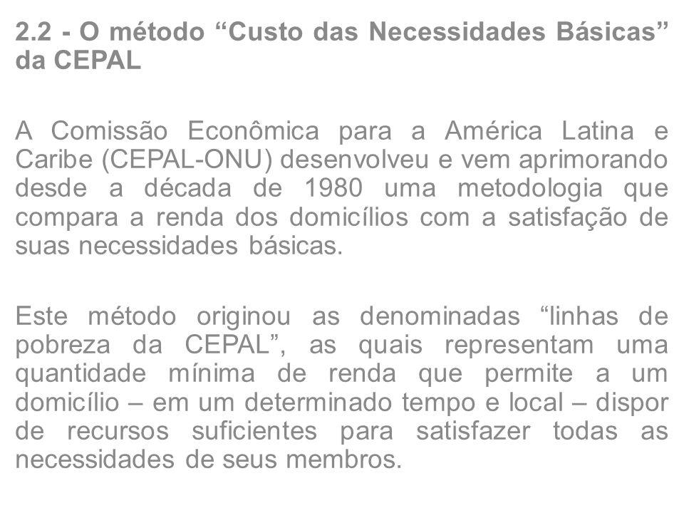 2.2 - O método Custo das Necessidades Básicas da CEPAL