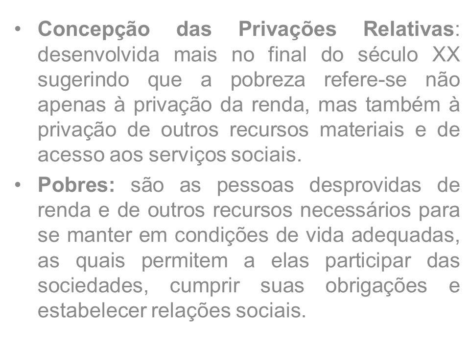 Concepção das Privações Relativas: desenvolvida mais no final do século XX sugerindo que a pobreza refere-se não apenas à privação da renda, mas também à privação de outros recursos materiais e de acesso aos serviços sociais.