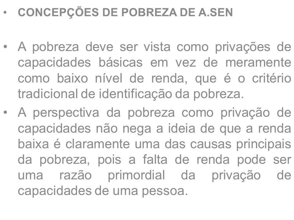 CONCEPÇÕES DE POBREZA DE A.SEN