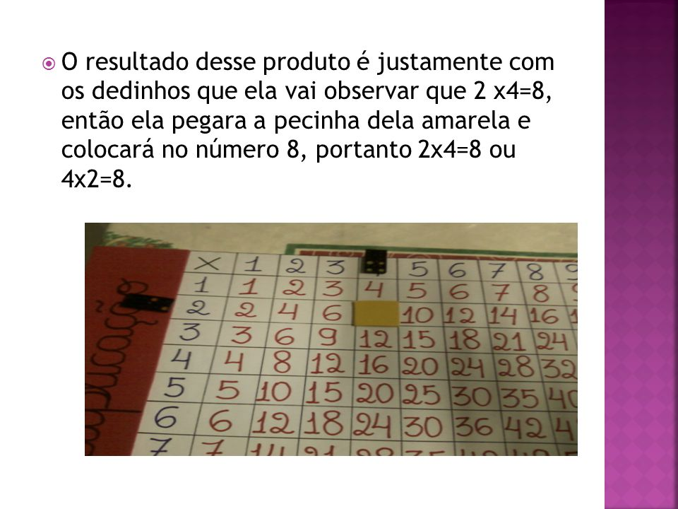 O resultado desse produto é justamente com os dedinhos que ela vai observar que 2 x4=8, então ela pegara a pecinha dela amarela e colocará no número 8, portanto 2x4=8 ou 4x2=8.