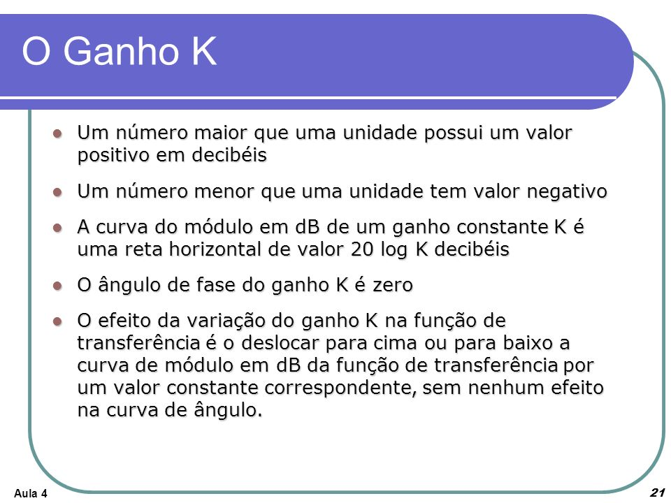 O Ganho K Um número maior que uma unidade possui um valor positivo em decibéis. Um número menor que uma unidade tem valor negativo.