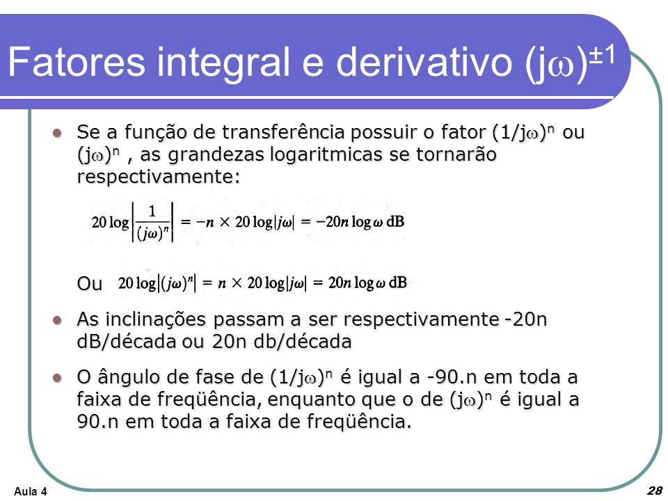 Fatores integral e derivativo (jw)±1
