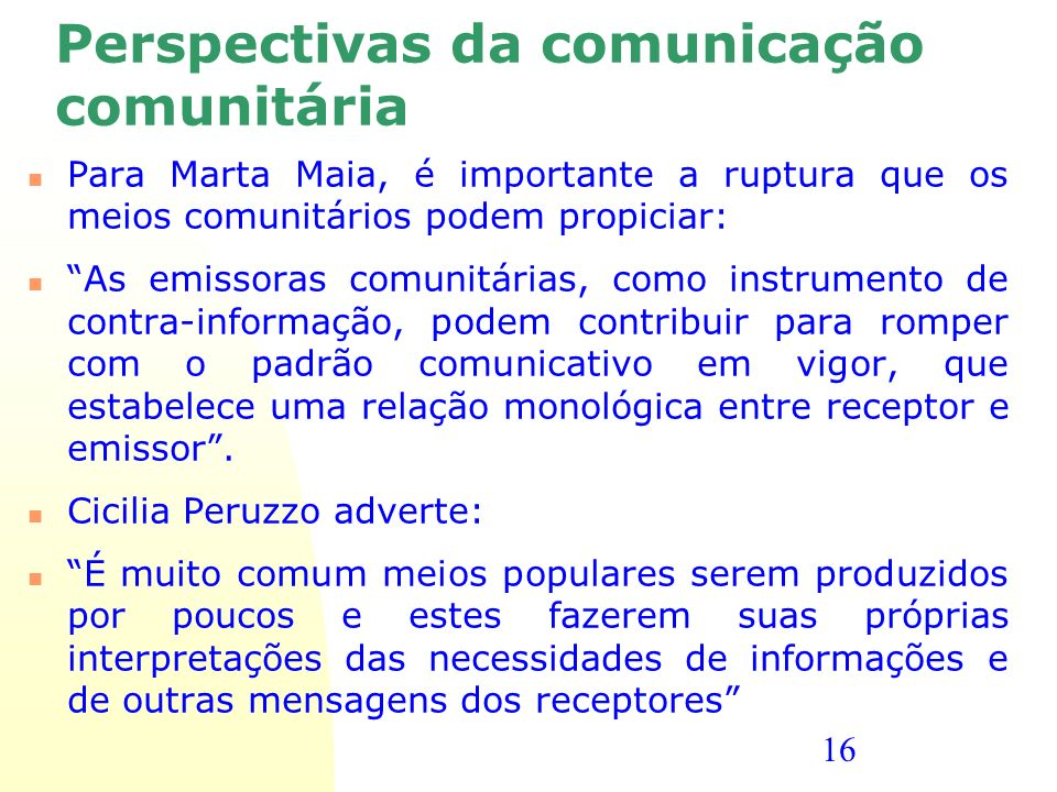 Perspectivas da comunicação comunitária