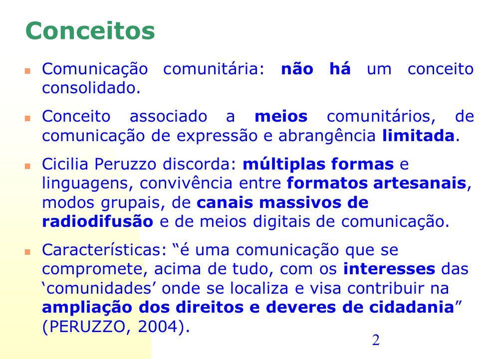 Conceitos Comunicação comunitária: não há um conceito consolidado.