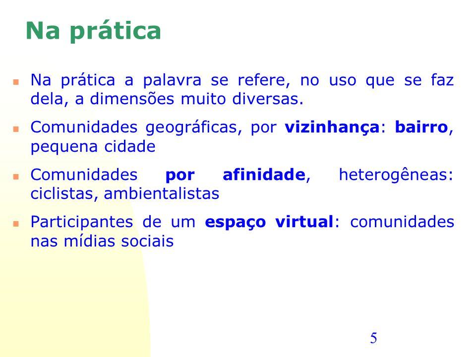 Na prática Na prática a palavra se refere, no uso que se faz dela, a dimensões muito diversas.