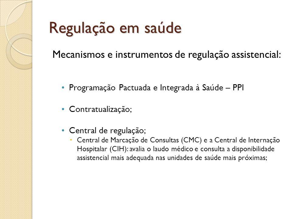 Mecanismos e instrumentos de regulação assistencial:
