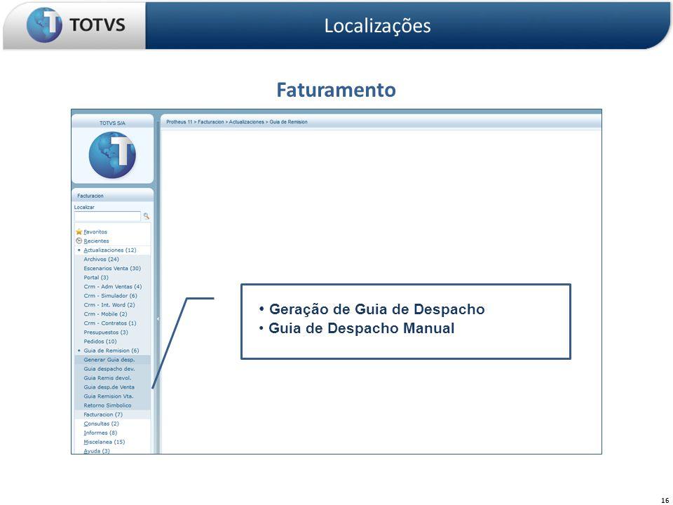 Faturamento Localizações Geração de Guia de Despacho