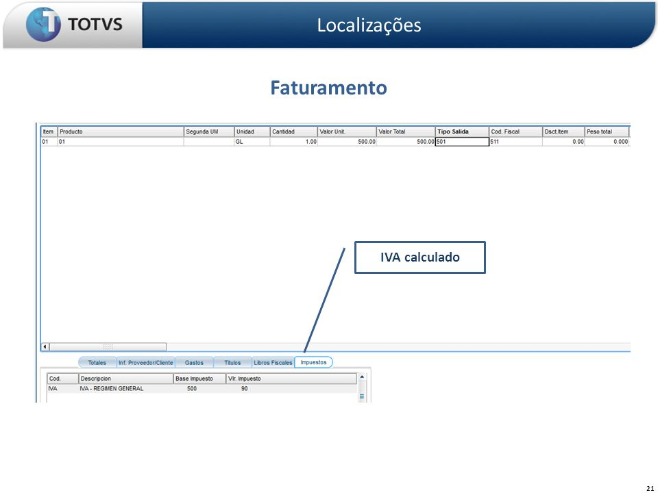 Localizações Faturamento IVA calculado