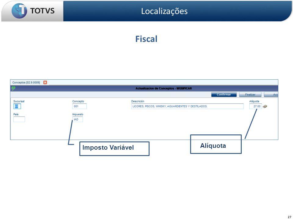 Localizações Fiscal Alíquota Imposto Variável