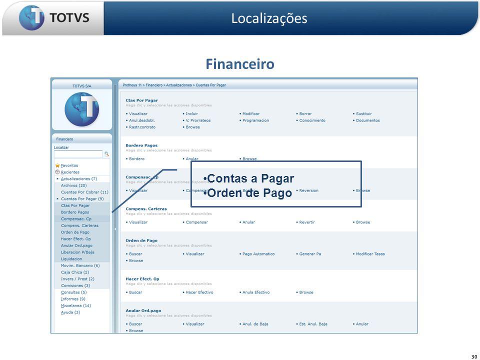 Localizações Financeiro Contas a Pagar Orden de Pago
