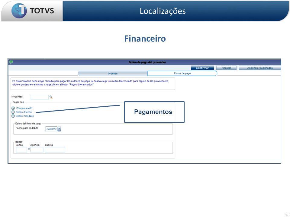 Localizações Financeiro Pagamentos
