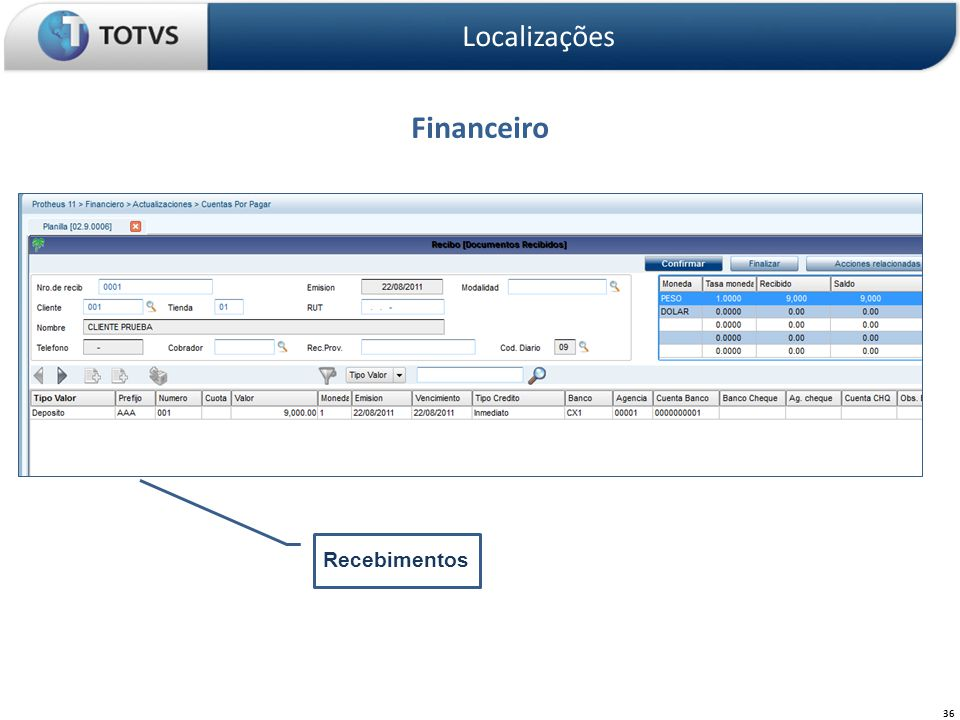 Localizações Financeiro Recebimentos