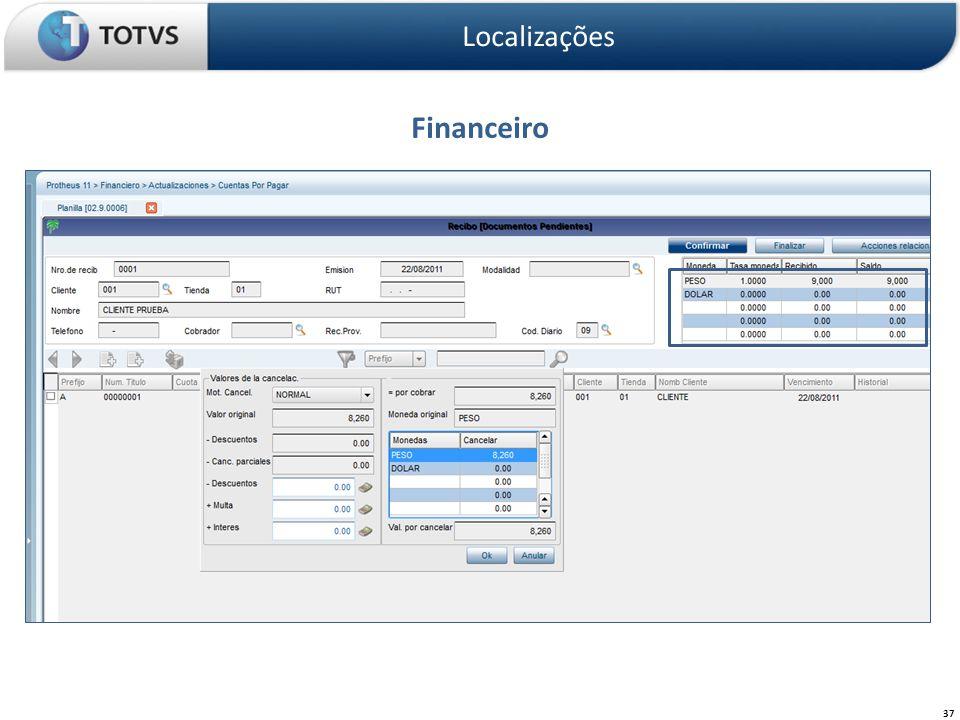 Localizações Financeiro