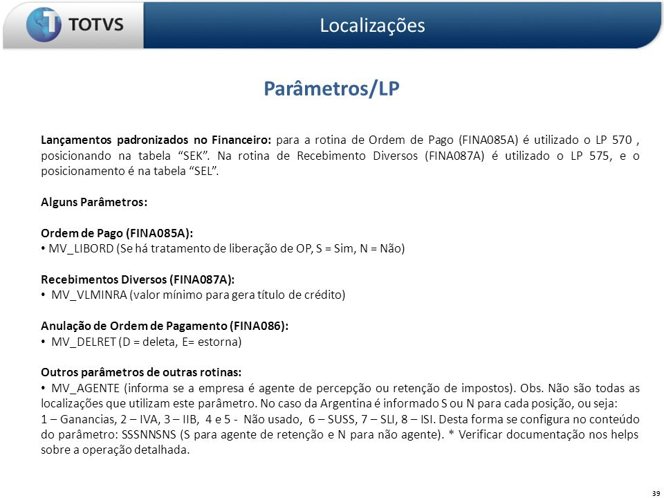 Parâmetros/LP Localizações