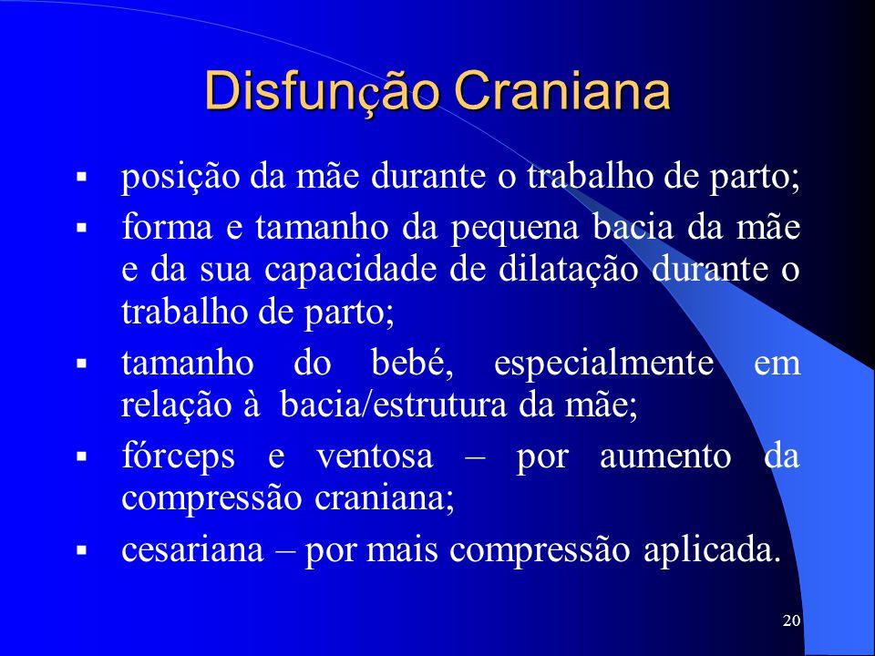 Disfunção Craniana posição da mãe durante o trabalho de parto;