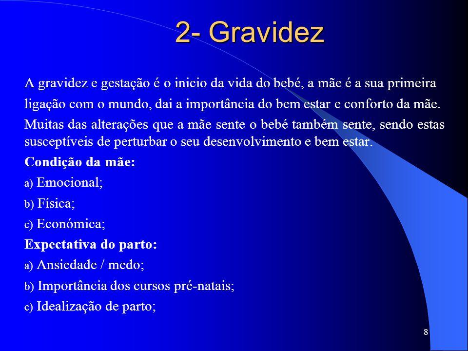 2- Gravidez A gravidez e gestação é o inicio da vida do bebé, a mãe é a sua primeira.