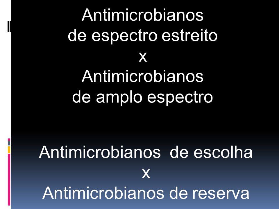 Antimicrobianos de escolha x Antimicrobianos de reserva