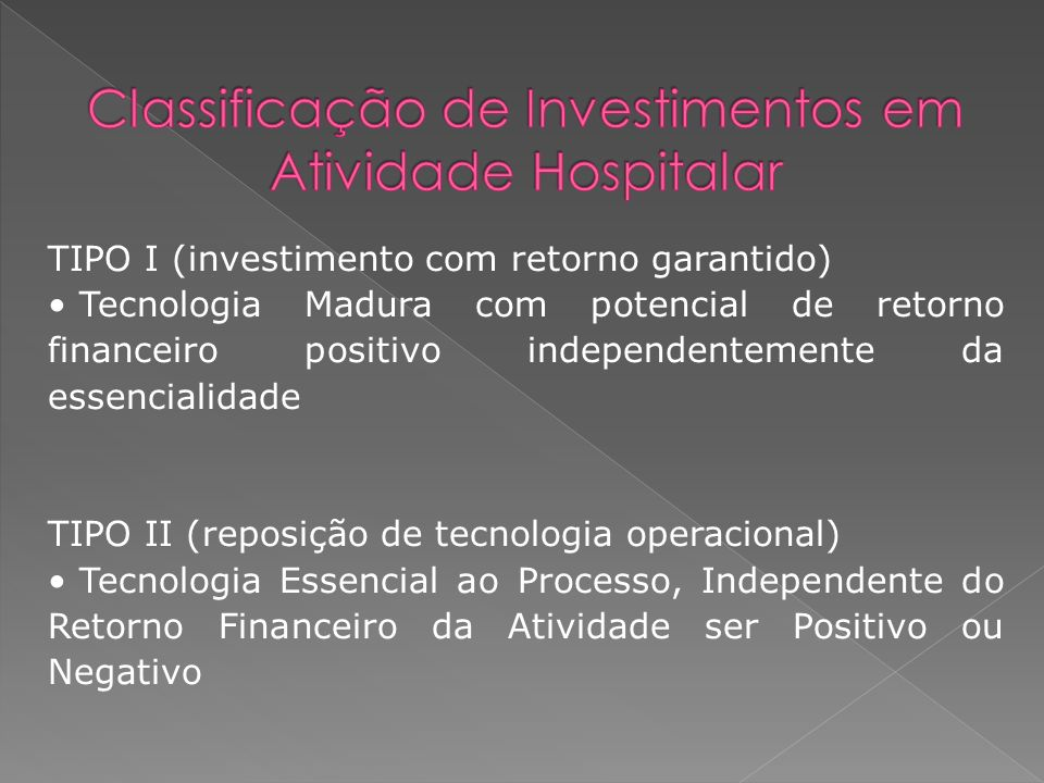 Classificação de Investimentos em Atividade Hospitalar