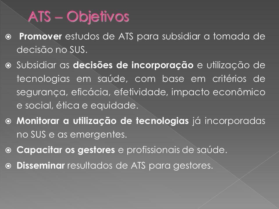ATS  Objetivos Promover estudos de ATS para subsidiar a tomada de decisão no SUS.