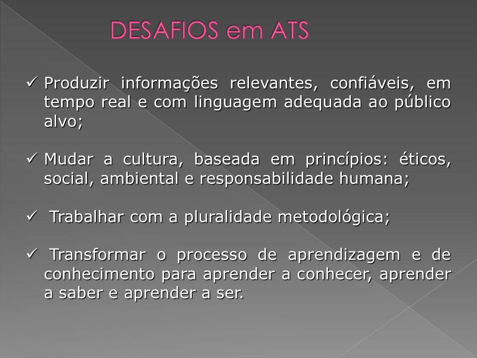 DESAFIOS em ATS Produzir informações relevantes, confiáveis, em tempo real e com linguagem adequada ao público alvo;