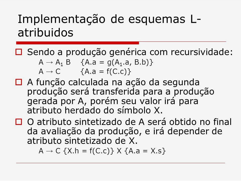 Implementação de esquemas L-atribuidos