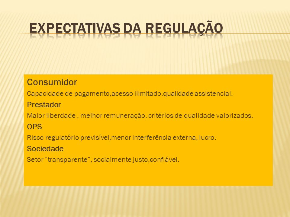 Expectativas da Regulação