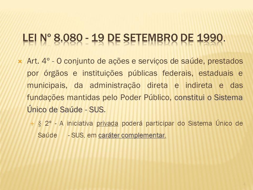 Lei nº 8.080 - 19 de Setembro de 1990.