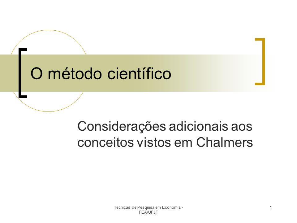 Considerações adicionais aos conceitos vistos em Chalmers