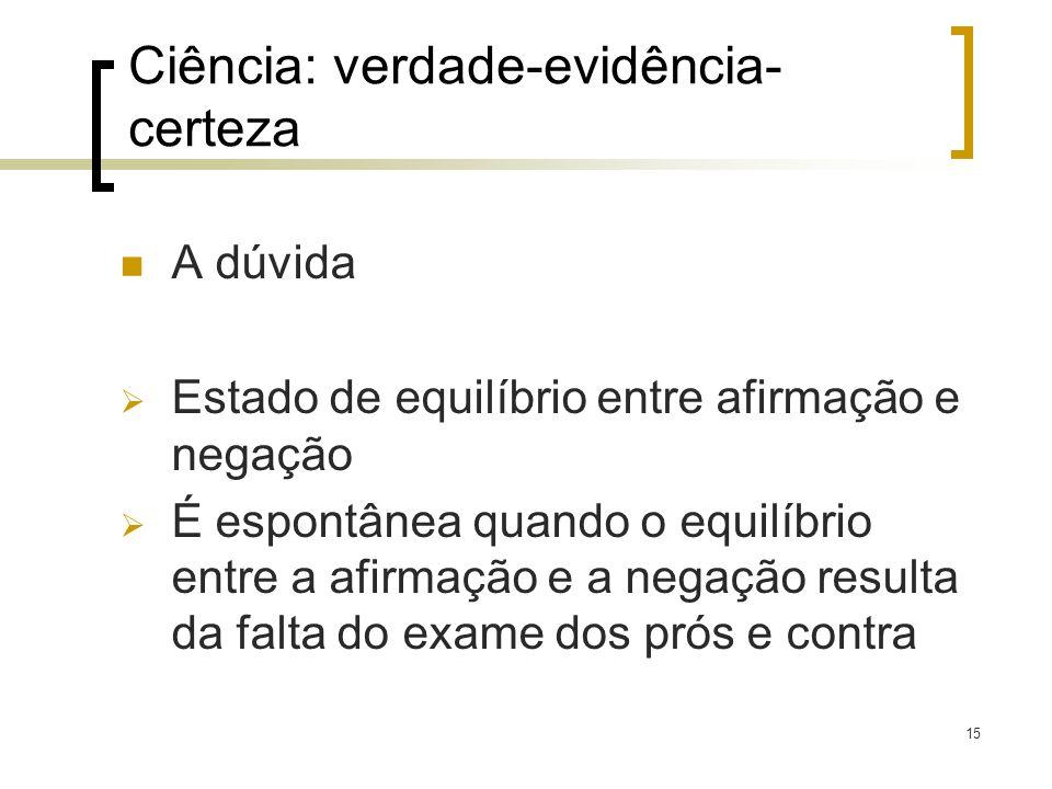 Ciência: verdade-evidência-certeza
