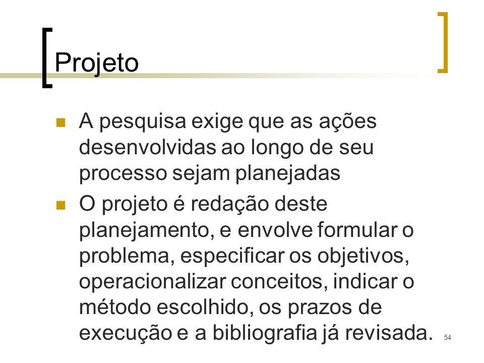 ProjetoA pesquisa exige que as ações desenvolvidas ao longo de seu processo sejam planejadas.