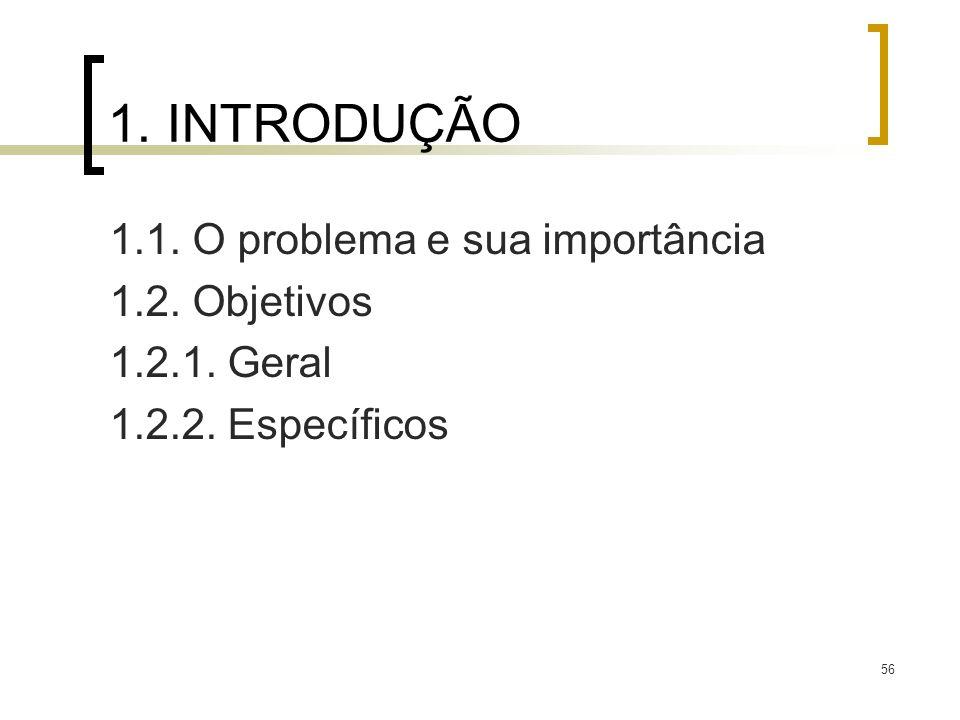 1. INTRODUÇÃO 1.1. O problema e sua importância 1.2. Objetivos