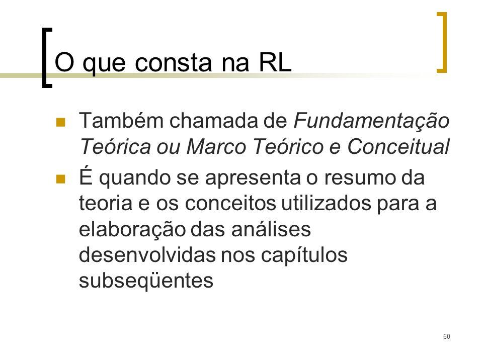 O que consta na RLTambém chamada de Fundamentação Teórica ou Marco Teórico e Conceitual.