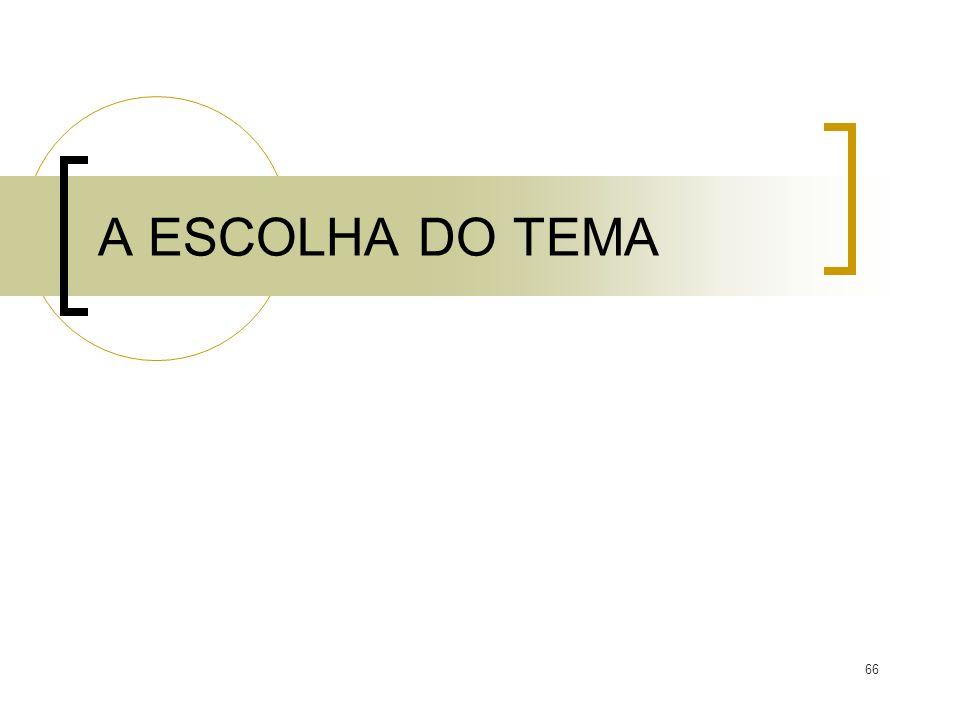 A ESCOLHA DO TEMA