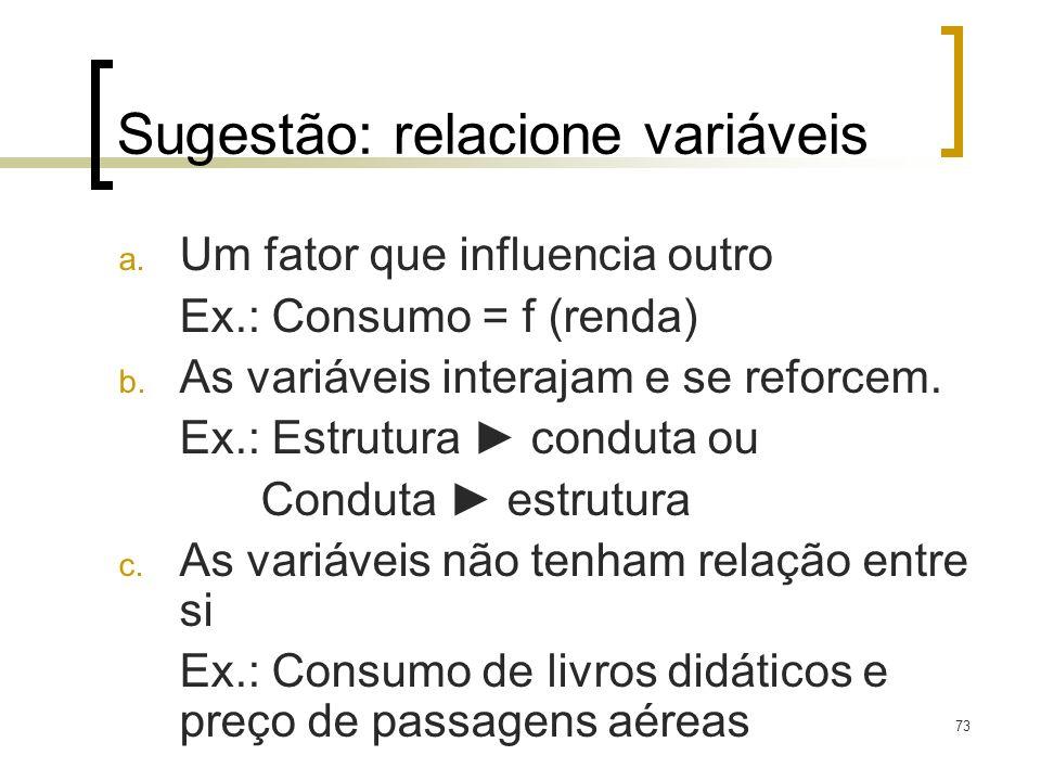 Sugestão: relacione variáveis