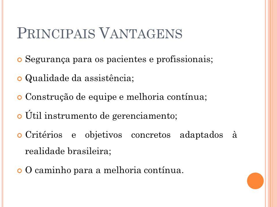 Principais Vantagens Segurança para os pacientes e profissionais;