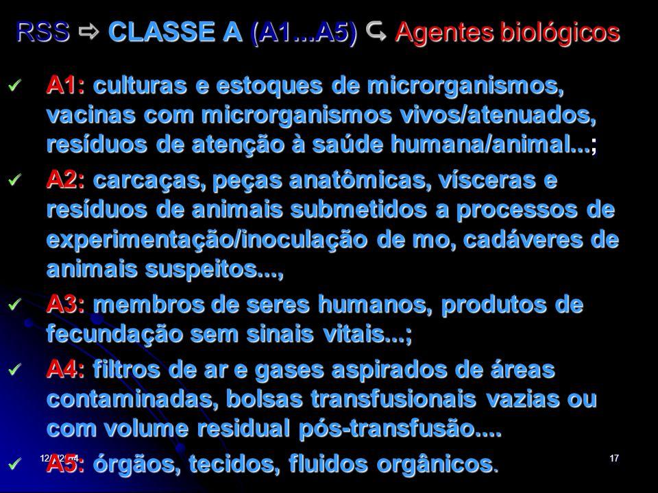 RSS  CLASSE A (A1...A5)  Agentes biológicos