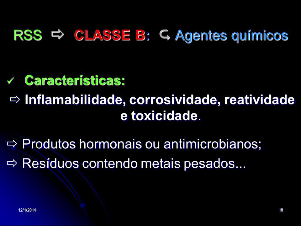 RSS  CLASSE B:  Agentes químicos