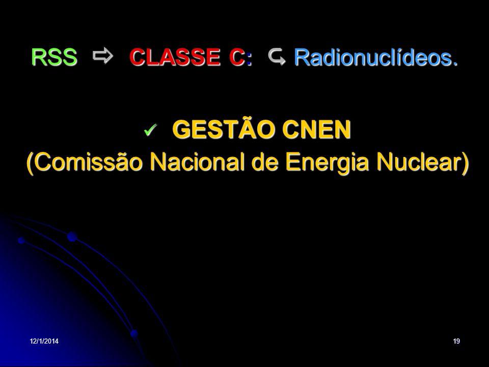 RSS  CLASSE C:  Radionuclídeos.