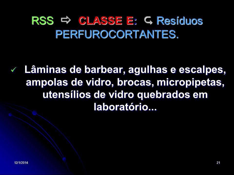 RSS  CLASSE E:  Resíduos PERFUROCORTANTES.