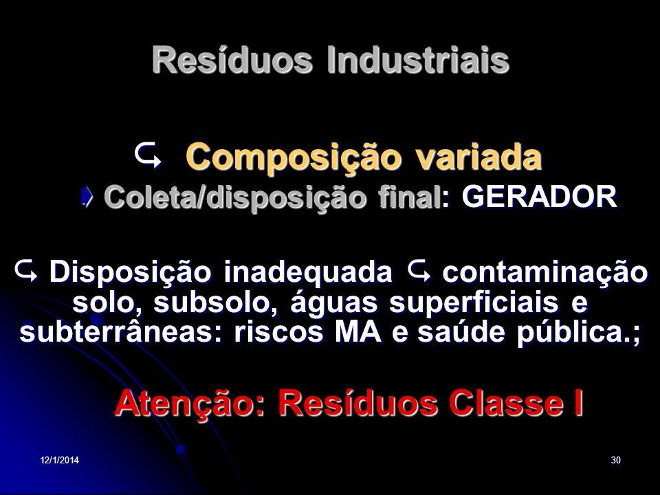  Coleta/disposição final: GERADOR Atenção: Resíduos Classe I