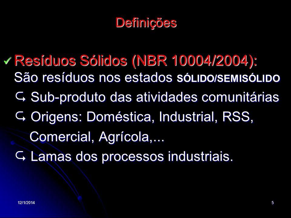 Definições Resíduos Sólidos (NBR 10004/2004): São resíduos nos estados SÓLIDO/SEMISÓLIDO.  Sub-produto das atividades comunitárias.