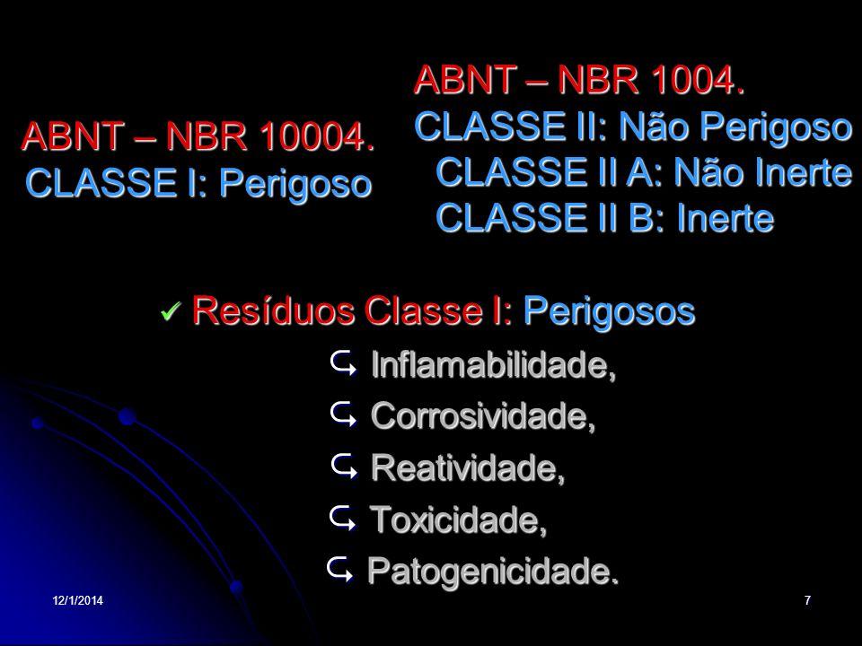 ABNT – NBR 10004. CLASSE I: Perigoso