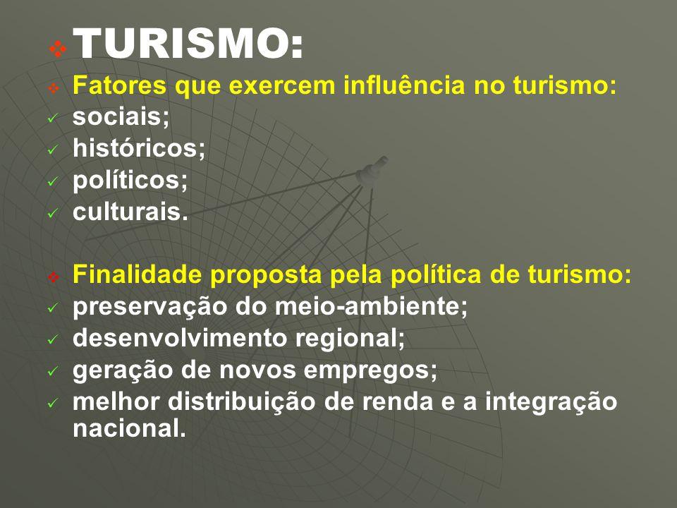 TURISMO: Fatores que exercem influência no turismo: sociais;