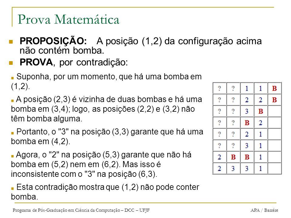 Prova Matemática PROPOSIÇÃO: A posição (1,2) da configuração acima não contém bomba. PROVA, por contradição: